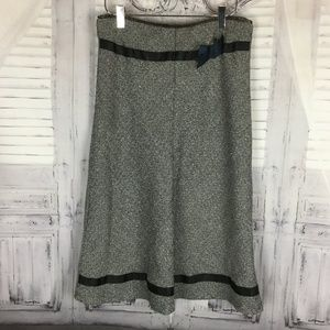 Miss Me Gray A line Midi Skirt with Black Trim S
